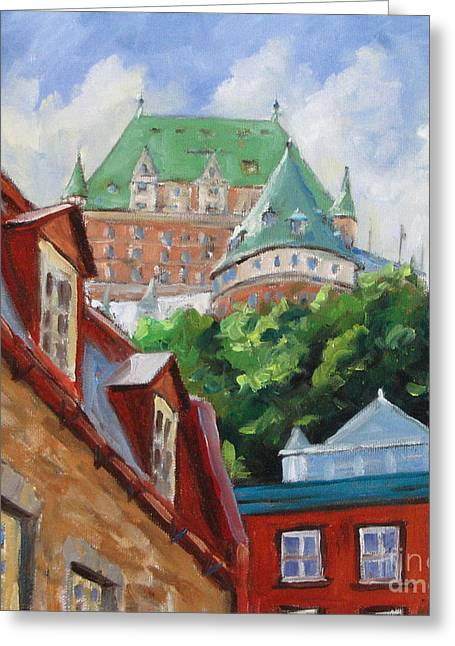 Scape Greeting Cards - Chateau Frontenac Greeting Card by Richard T Pranke