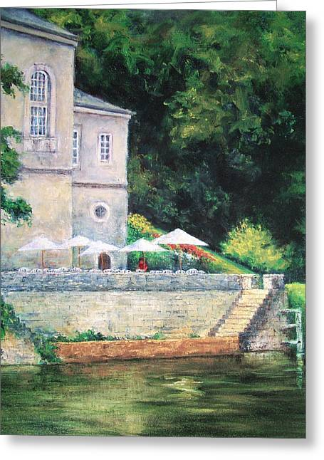 Chateau On The Lot River Greeting Card by Jill Musser