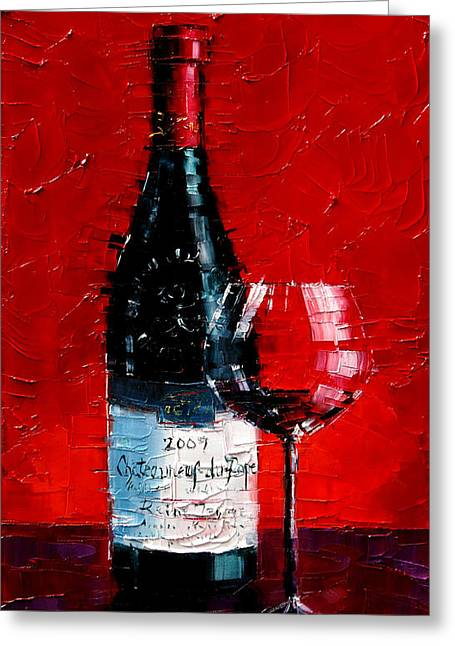 Still Life With Wine Bottle And Glass I Greeting Card by Mona Edulesco