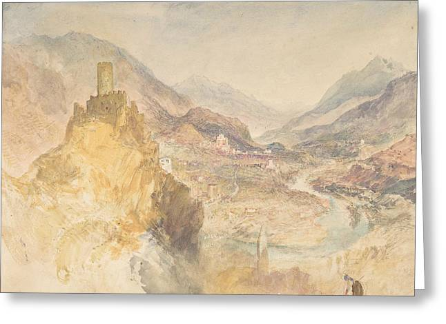 Chatel Argent And The Val D'aosta From Above Villeneuve Greeting Card by Joseph Mallord William Turner