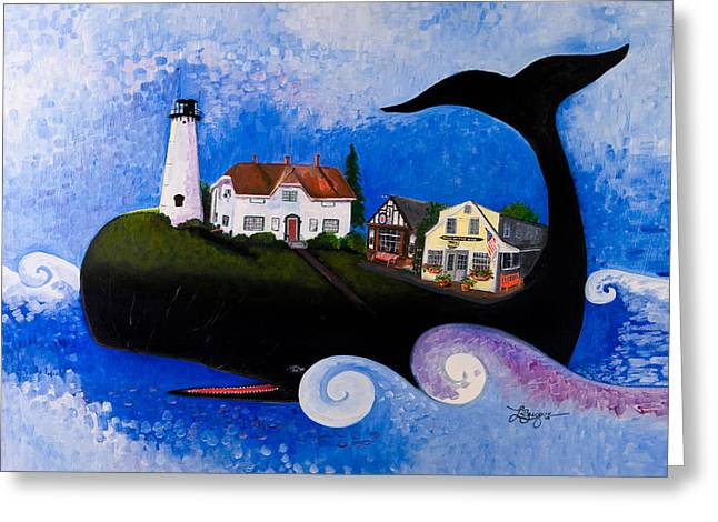 Chatham Paintings Greeting Cards - Chatham - A Whale of a Town Greeting Card by Theresa LaBrecque