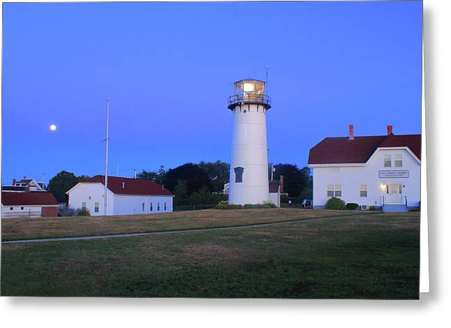 Chatham Lighthouse Moonset Greeting Card