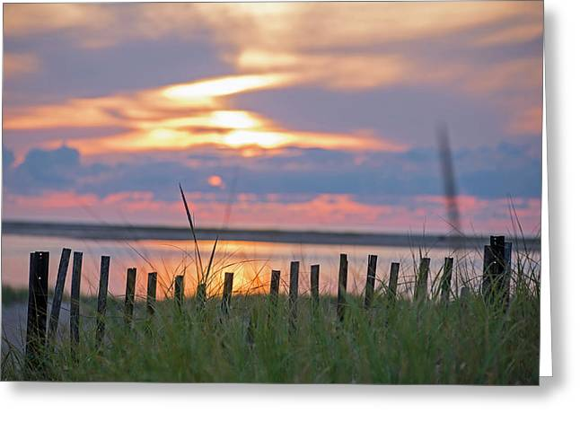 Chatham Ma Cape Cod Sunrise Fence Greeting Card by Toby McGuire