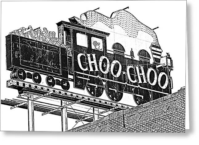 Chattanooga Choo Choo Sign In Black And White Greeting Card by Marian Bell