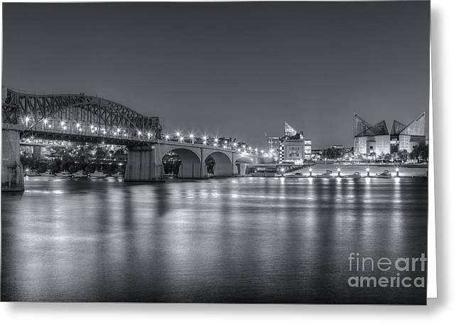 Chattanooga Market Street Bridge At Twilight II Greeting Card by Clarence Holmes
