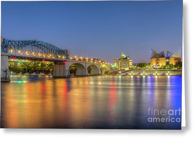 Chattanooga Market Street Bridge At Twilight I Greeting Card by Clarence Holmes
