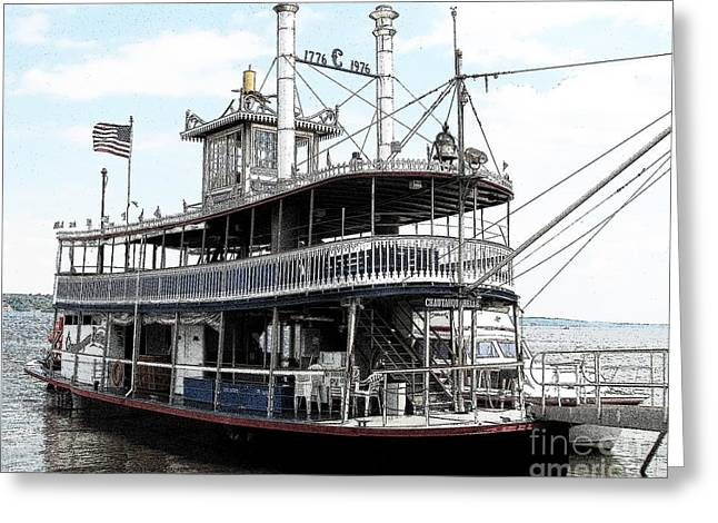 Greeting Card featuring the photograph Chautauqua Belle Steamboat With Ink Sketch Effect by Rose Santuci-Sofranko