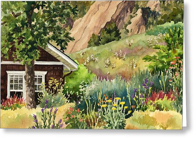Chautauqua Cottage Greeting Card by Anne Gifford