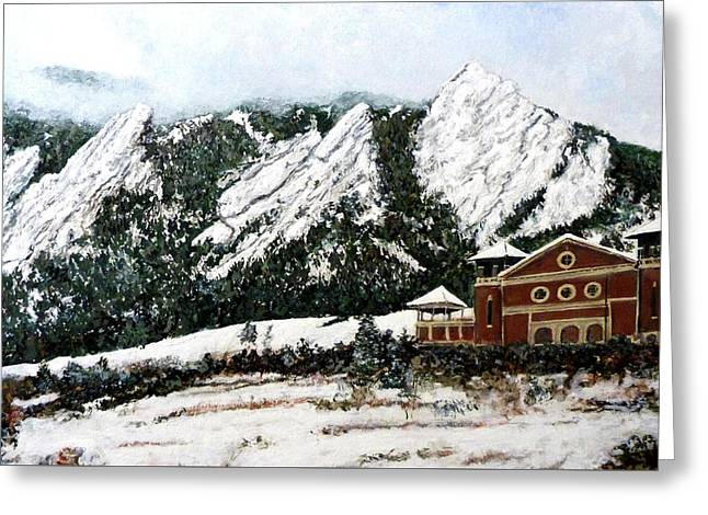 Greeting Card featuring the painting Chautauqua - Winter, Late Afternoon by Tom Roderick