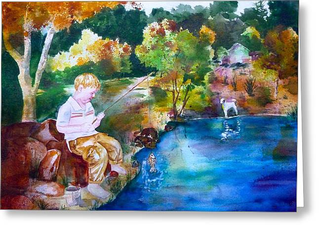 Bright Art Of Dogs Greeting Cards - Chaytons Lake in the Woods Greeting Card by Sharon Mick