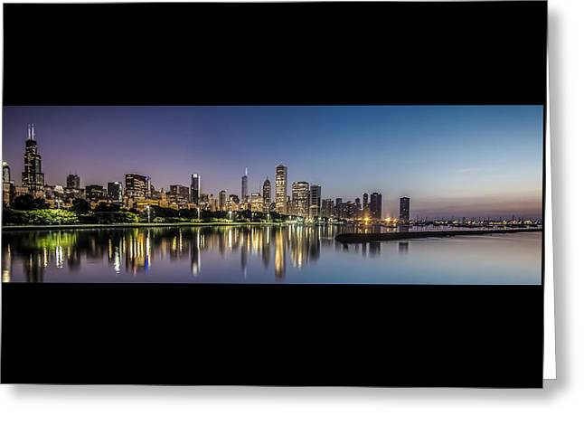 Chicago Skyline At Dawn With A Panoramic Crop  Greeting Card