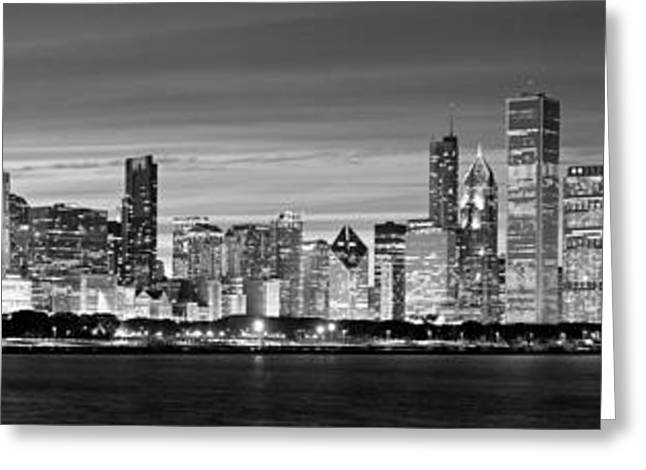Chciago Skyline In Black And White Greeting Card