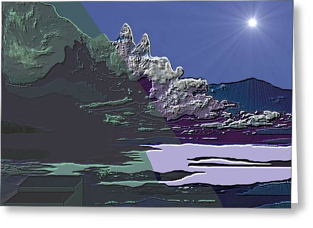 Greeting Card featuring the digital art 1978 - Nowhere  by Irmgard Schoendorf Welch