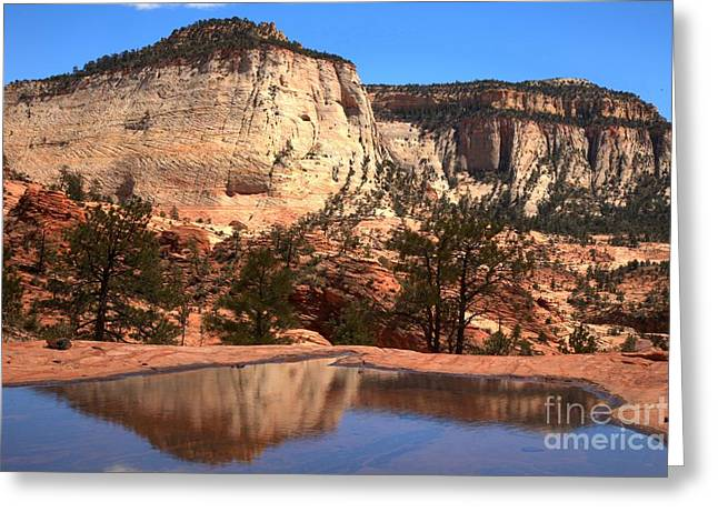 Checkerboard Mountain Utah Reflections Greeting Card by Adam Jewell