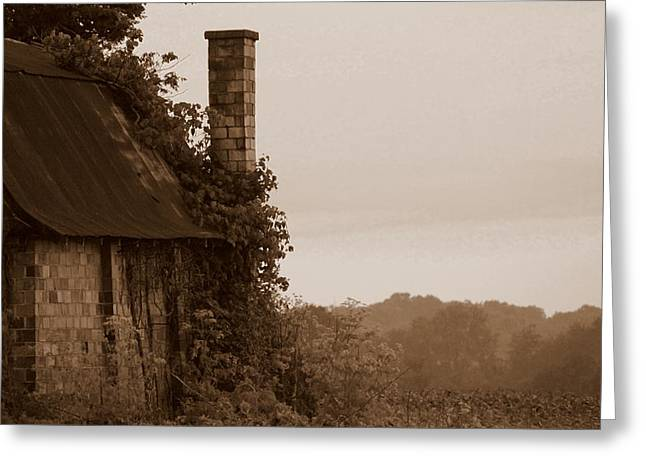 Tin Roof Greeting Cards - Checkered Chimney Greeting Card by Ed Smith