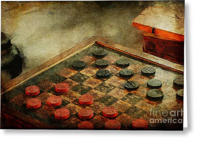Checkers Greeting Card by Lois Bryan