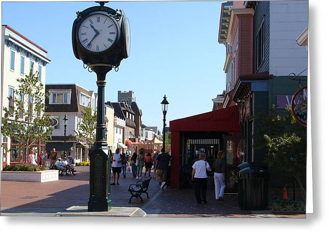 Checking Out The Shops In Cape May Greeting Card by Rod Jellison