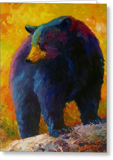 Checking The Smorg - Black Bear Greeting Card by Marion Rose