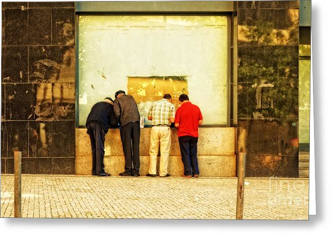 Checking The Winning Numbers In Porto-portugal Greeting Card by Mary Machare