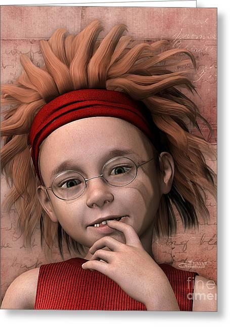 Cheeky Little Miss Greeting Card by Jutta Maria Pusl