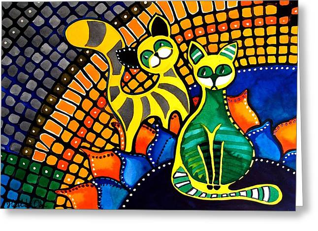 Cheer Up My Friend - Cat Art By Dora Hathazi Mendes Greeting Card