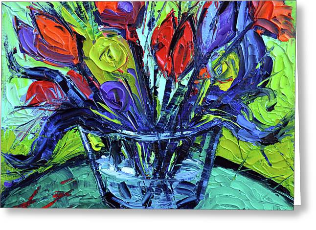 Cheerful Abstract Flowers Greeting Card by Mona Edulesco