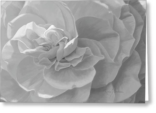 Cheerful - Black And White Greeting Card by Lucie Bilodeau