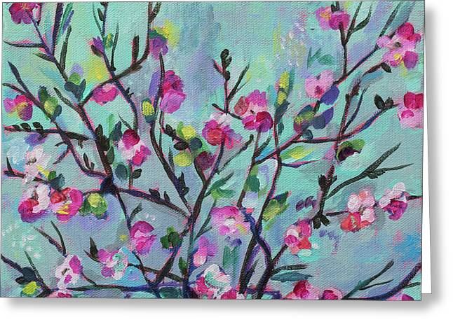 Cheerful Cherry Blossoms Greeting Card by Kristin Whitney