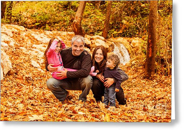 Cheerful Family In Autumn Woods Greeting Card