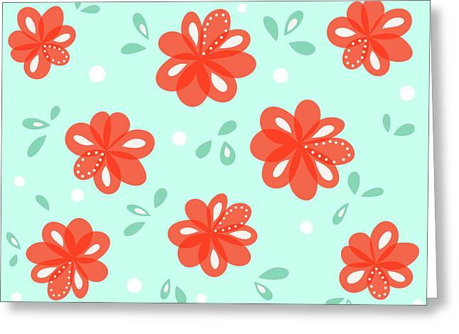 Cheerful Red Flowers Greeting Card