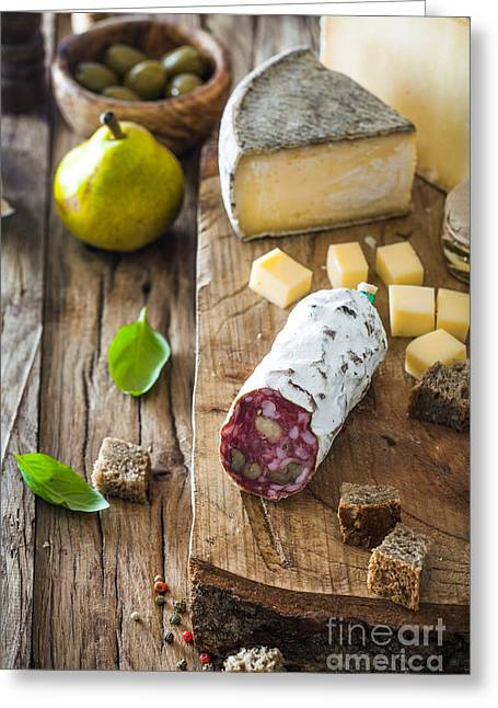 Cheese And Salami Greeting Card by Mythja Photography