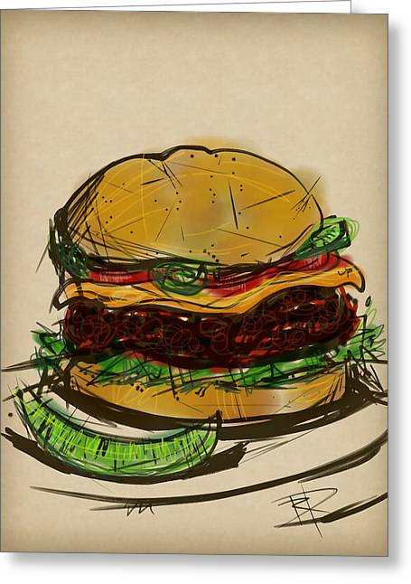 Ketchup Digital Greeting Cards - Cheese Burger Greeting Card by Russell Pierce