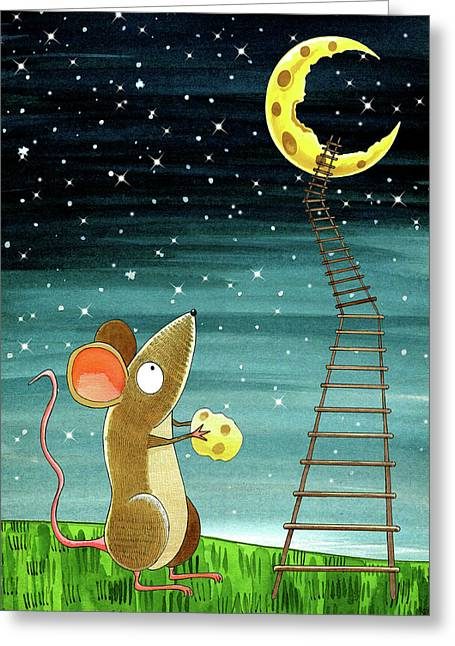 Cheese Moon  Greeting Card by Andrew Hitchen