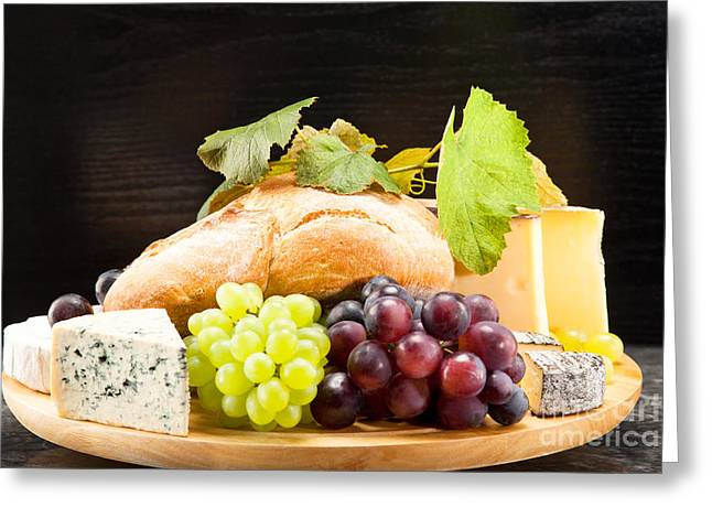 Cheese Plate With Red And Green Wine Grapes Greeting Card