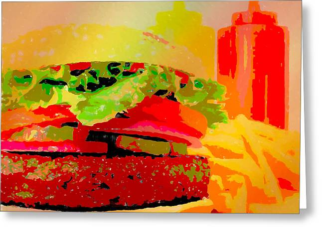 Cheeseburger And Fries Pop Art Greeting Card