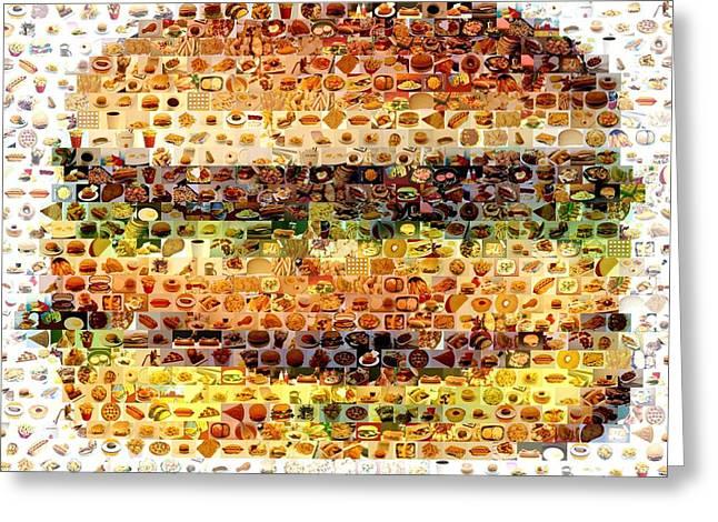 Cheeseburger Fast Food Mosaic Greeting Card