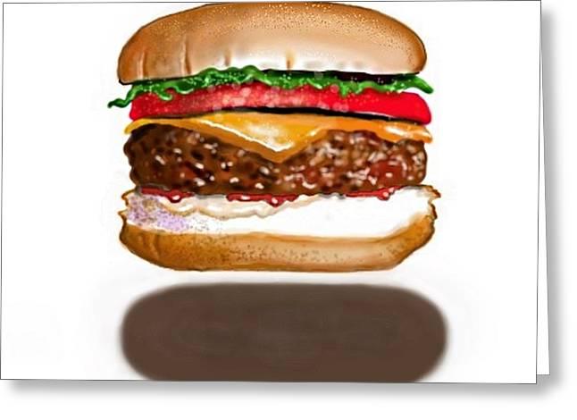 Cheeseburger Levitation Greeting Card