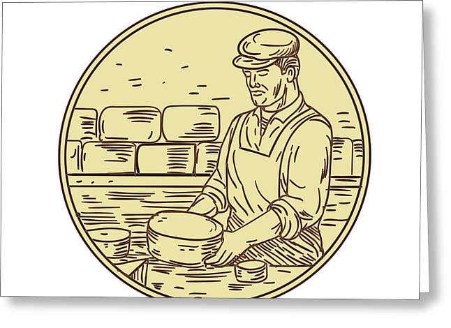 Cheesemaker Making Cheddar Cheese Circle Drawing Greeting Card by Aloysius Patrimonio