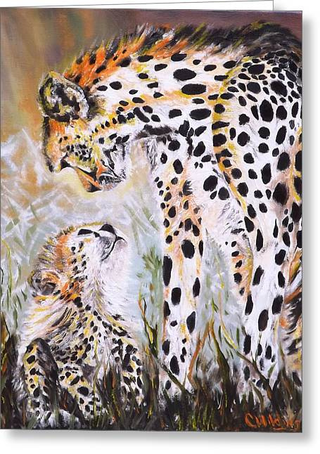 Cheetah And Pup Greeting Card