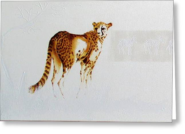 Cheetah And Zebras Greeting Card