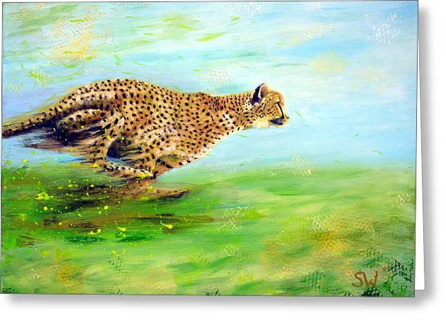 Cheetah At Speed Greeting Card