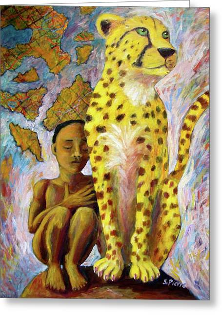Cheetah Boy Greeting Card by Sebastian Pierre