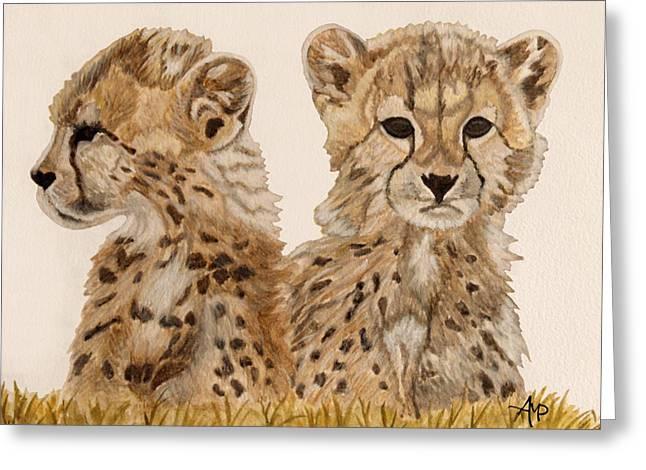 Cheetah Cubs Watercolor Greeting Card