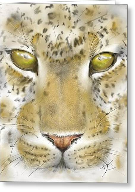 Greeting Card featuring the digital art Cheetah Face by Darren Cannell