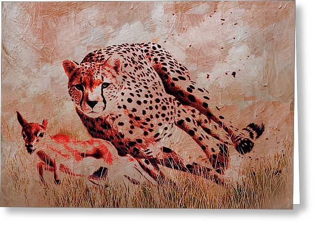Cheetah Hunting Greeting Card by Gull G
