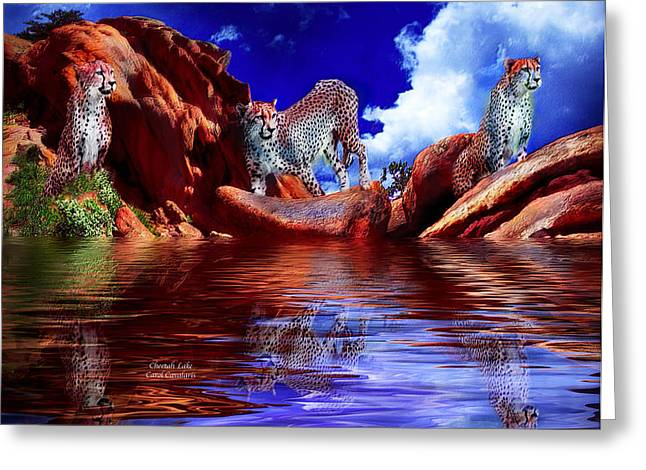 Cheetah Lake Greeting Card