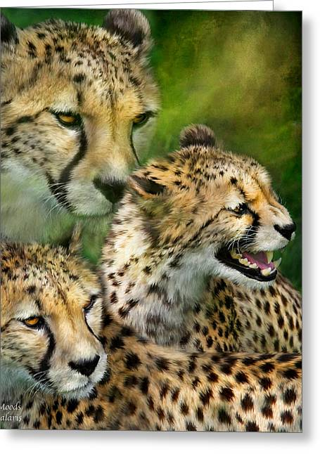 Cheetah Moods Greeting Card by Carol Cavalaris