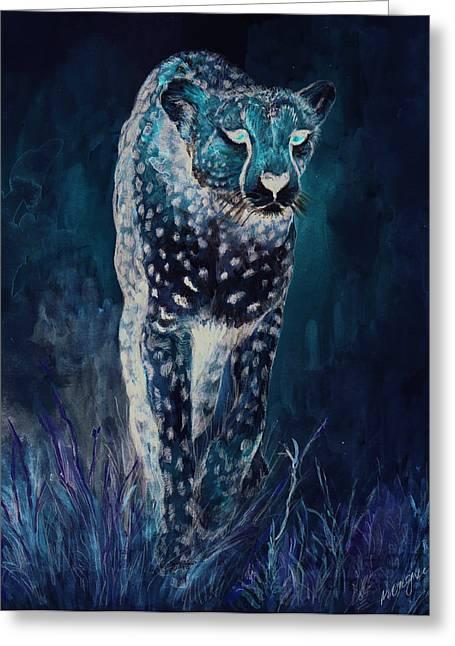 Cheetah Running Greeting Card by Morgan Fitzsimons