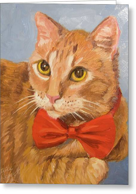 Cheetoh Cat Portrait Greeting Card by Alice Leggett