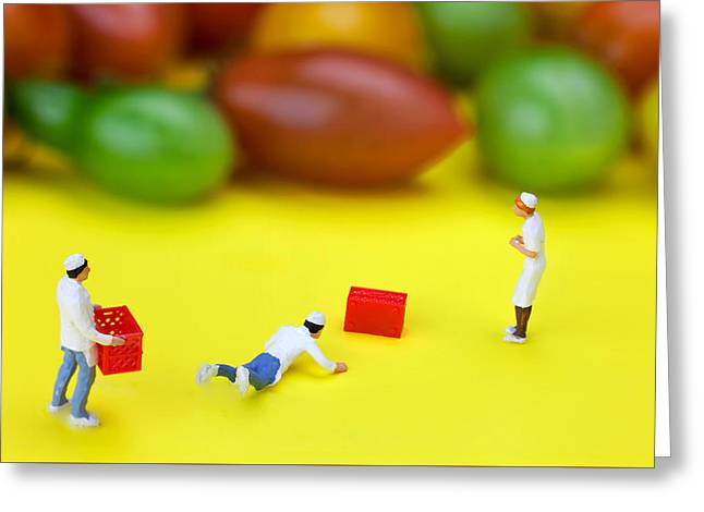 Greeting Card featuring the painting Chef Tumbled In Front Of Colorful Tomatoes Little People On Food by Paul Ge